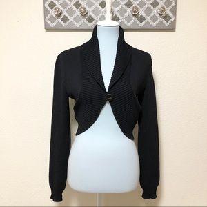 St. John Cropped Sweater Black Bolero Shrug, S